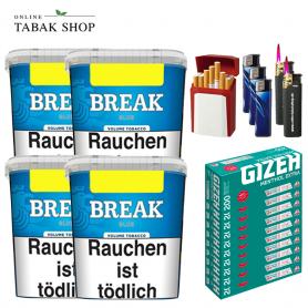 4x Break Blau Volumentabak 230g + 2.000 GIZEH Menthol EXTRA Hülsen + 3 Feuerzeuge + 2 Sturmfeuerzeuge + 1 GIZEH Etui
