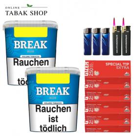 2x 230g Break Blau Volumentabak, 1250 Gizeh Rot Extra Hülsen, 3x Feuerzeuge, 2x Sturmfeuerzeuge