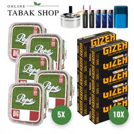 Pepe Rich Green Tabak (5 x 170g) + 2.000 GIZEH Full Flav. EXTRA Hüls. + 3 Feuerz. + 2 Sturmfeuerz. + 1 Etui + 1 Ascher 9cm - 131,65€