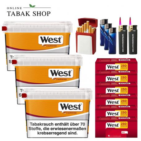 West Yellow Volumentabak (3 x 185g (ehem. 215g) + 1.500 West Red EXTRA Hülsen + 3 Feuerzeuge + 2 Sturmfeuerzeug + GIZEH Etui