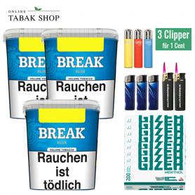 Break Blau Original Volumentabak (3 x 230g) + 1.600 Menthol Hülsen + 3 x Feuerzeuge + 2 x Sturmfeuerzeuge
