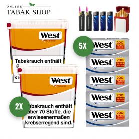 West Yellow Volumen Tabak (2 x 310g) + 1000 West Silver Hülsen + 2 Sturmfeuerzeuge + 3 Feuerzeuge + 1 GIZEH Etui