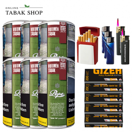 6 x Pepe Rich Green Volumentabak Tabak 85g + 1000 Gizeh Flavor Extra Hülsen 1xEtui , 3xFeuerzeuge , 2x Sturmfeuerzeuge