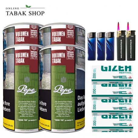 4 x Pepe Rich Green Volumentabak Tabak 85g + 800 Gizeh Menthol Hülsen , 3xFeuerzeuge , 2x Sturmfeuerzeuge