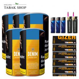 Denim Volumentabak (5 x 90g) + 1.000 GIZEH Full Flavor EXTRA Hülsen + 3 Feuerzeuge + 2 Sturmfeuerzeuge
