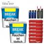 Break Blau Volumentabak (2x230g),1.200 Break Hülsen , 3 Feuerzeuge , 2 Sturmfeuerzeuge