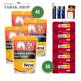 West Yellow Volumen Tabak (4 x 155g) + 1.000 West Red Hülsen + 2 Feuerzeuge + 1 Sturmfeuerzeug + 1 GIZEH Etui