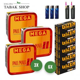 Pall Mall Allround Red Mega Box Volumentabak (3 x 155g), 1200 Gizeh Extra Hülsen, 3x Feuerzeuge, 2x Sturmfeuerzeuge