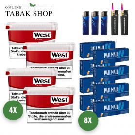 West Rot Volumen Tabak (4x 155g) + 1.600x Pall Mall Blau Xtra Hülsen + 3x Feuerzeuge + 2x Sturmfeuerzeuge