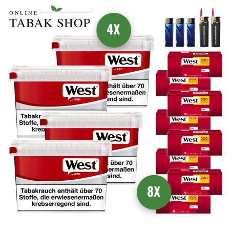 West Rot Volumen Tabak (4 x 155g), 1.600 West Hülsen, 3 Feuerzeuge und 2 Sturmfeuerzeuge