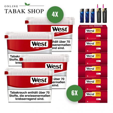 West Rot Volumen Tabak (4 x 155g) + 1.500 West Red EXTRA Hülsen + 3 Feuerzeuge + 2 Sturmfeuerzeuge