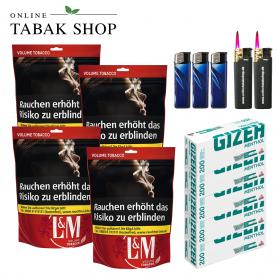 L&M Volumen Tabak Red XL Beutel (4x 155g), 1000 Menthol Hülsen, 3x Feuerzeuge, 2x Sturmfeuerzeuge - 104,80€