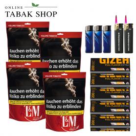 L&M Volumen Tabak Red XL Beutel (4x 155g),1.000 Gizeh Extra Hülsen, 3x Feuerzeuge, 2x Sturmfeuerzeuge - 104,80€