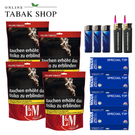 L&M Volumen Tabak Red XL Beutel (4x 155g), 1.000 Gizeh Special Hülsen, 3x Feuerzeuge, 2x Sturmfeuerzeuge - 104,30€