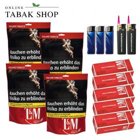 L&M Volumen Tabak Red XL Beutel (4x 155g), 1000 LM Rot Standard Hülsen, 3x Feuerzeuge, 2x Sturmfeuerzeuge