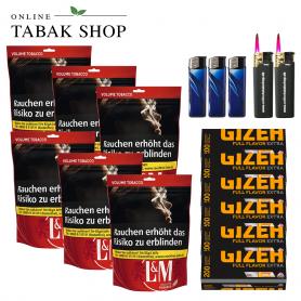 L&M Volumen Tabak XL Beutel (6 x 155g), 1600 Gizeh Black Extra Hülsen, 3x Feuerzeuge, 2x Sturmfeuerzeuge - 154,70€