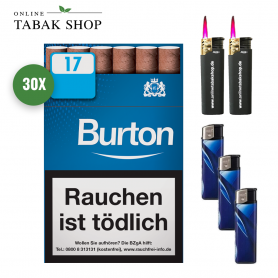 Burton White / Blue Blau Filterzigarillos (30x17er) + 3 Feuerzeuge + 2 Sturmfeuerzeuge
