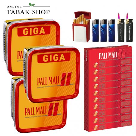 Pall Mall Allround Red Giga (3 x 260g) + 2.000 Pall Mall Red Xtra Hülsen + 2 Sturmfeuerzeuge + 3 Feuerzeuge + 1 GIZEH Etui