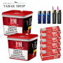 2x 310g L&M Volumen Tabak Red Mega Box, 1250 LM Rot Extra Hülsen, 3x Feuerzeuge, 2x Sturmfeuerzeuge
