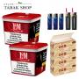 2x 310g L&M Volumen Tabak Red Mega Box, 1000 OCB Organic Hülsen, 3x Feuerzeuge, 2x Sturmfeuerzeuge