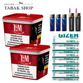 2x 310g L&M Volumen Tabak Red Mega Box, 1200 Menthol Hülsen, 3x Feuerzeuge, 2x Sturmfeuerzeuge - 106,90€