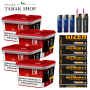 4 x L&M Volumen Tabak Red Mega Box 185g, 1.200 Gizeh EXTRA  Hülsen, 3 Feuerzeuge, 2 Sturmfeuerzeuge