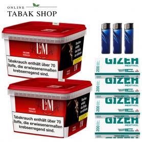 2 x L&M Volumen Tabak Red Mega Box 185g , 800 Gizeh Menthol Hülsen , 3 Feuerzeuge