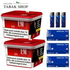 2 x L&M Volumen Tabak Red Mega Box 185g , 750 Gizeh Special Hülsen , 3 Feuerzeuge
