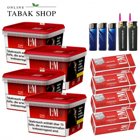 4x 185g L&M Volumen Tabak Red Mega Box, 1000 LM Rot EXTRA Hülsen, 3x Feuerzeuge, 2x Sturmfeuerzeuge