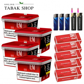 4x 185g L&M Volumen Tabak Red Mega Box,1000 LM Rot Standart Hülsen, 3x Feuerzeuge, 2x Sturmfeuerzeuge