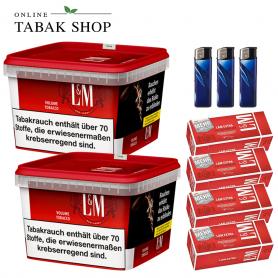 2 x L&M Volumen Tabak Red Mega Box 155g , 750 LM Rot Extra Hülsen , 3 Feuerzeuge